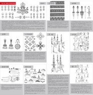 Buddhist symbols and artifacts diagram of eight mostly ceremonial, and Tantric appliances Vector