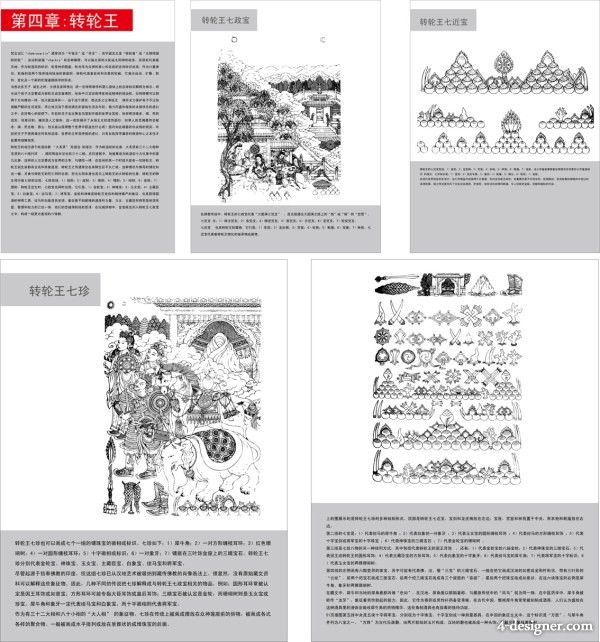 Buddhist symbols and artifacts diagram of four Zhuanlun vector material