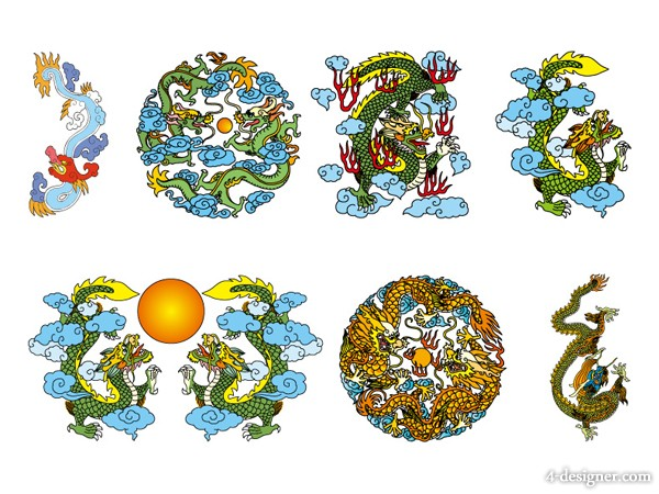 Classical Chinese dragon vector material