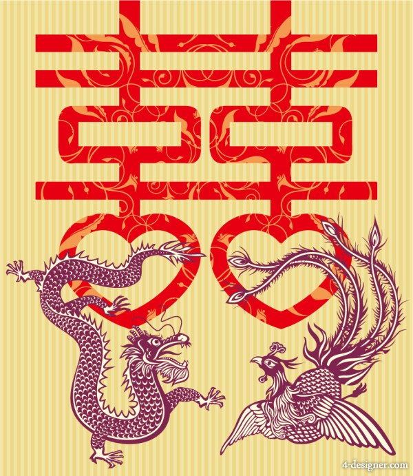 Dragon and Phoenix Double Happiness vector material