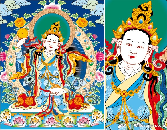 Tibet, Thangka lotus, three rows of empty mother AI Vector