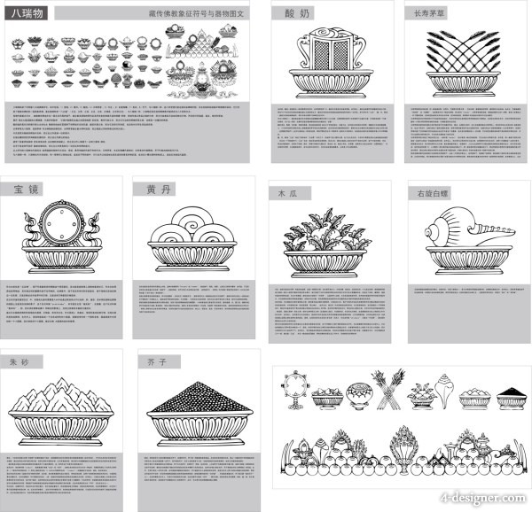 Tibetan Buddhist symbols and artifacts diagram of 228 Swiss material vector material