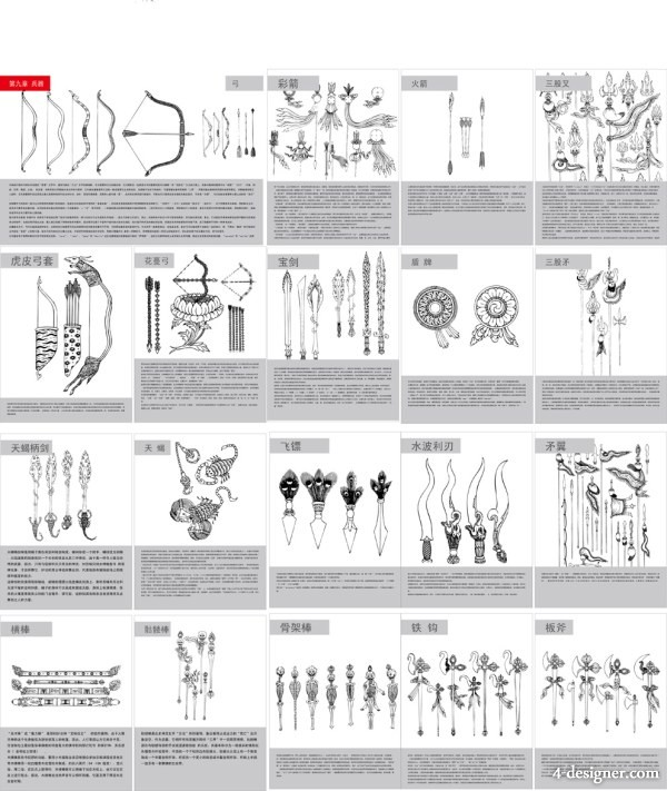 Tibetan Buddhist symbols and objects map of the nine weapons vector material