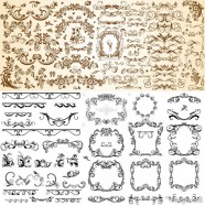 European pattern set of vector material