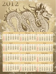 2012 Year of the Dragon Calendar Vector