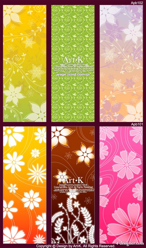 6 models lovely pattern shading background vector material