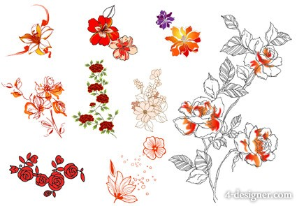 9 fashion flowers vector material