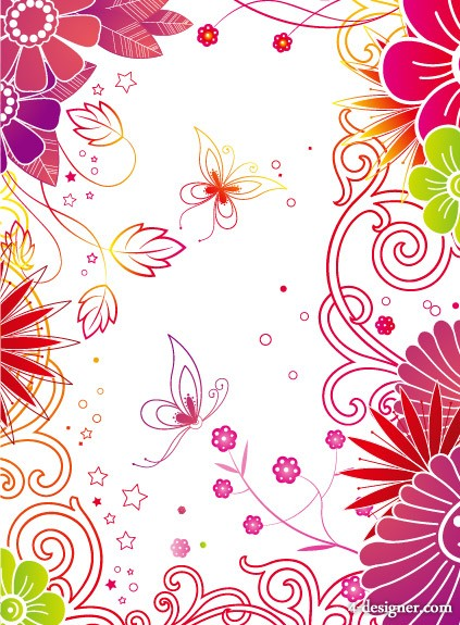 Fashion flowers butterfly background vector material