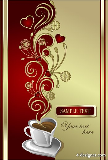 Love coffee vector material