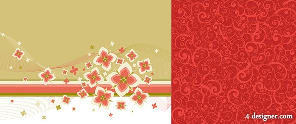 Lovely flowers and fashion pattern background vector material