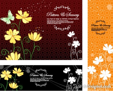 The flowers butterflies classical pattern background vector material