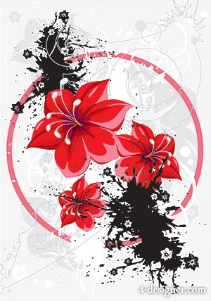 Trend floral with ink vector material