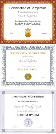 three certificate design vector material
