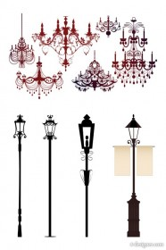 gorgeous chandelier lights silhouette vector material