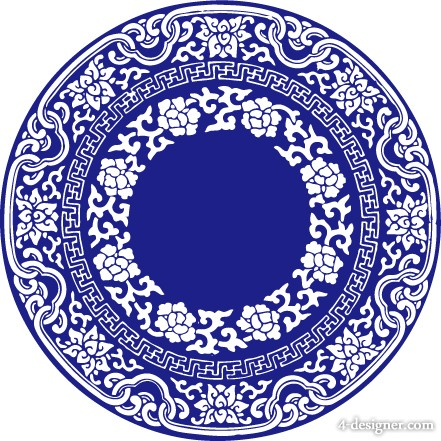 wind Chinese blue and white porcelain Vector