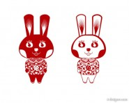 Year of the Rabbit paper cut rabbit vector rabbit; paper cut; vectors; Rabbit in material; cute