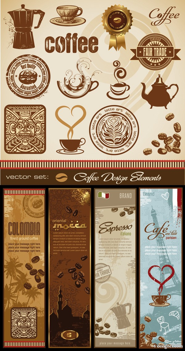 coffee and totem vector material