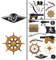 pirate equipment and supplies vector material