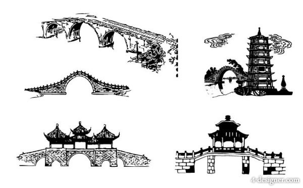 Chinese traditional architecture arch bridge vector material