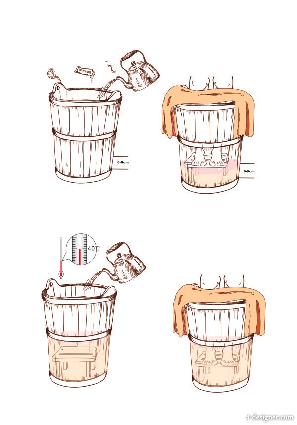 footbath barrels Vector