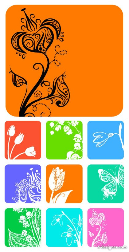9 small flower pattern silhouette vector material