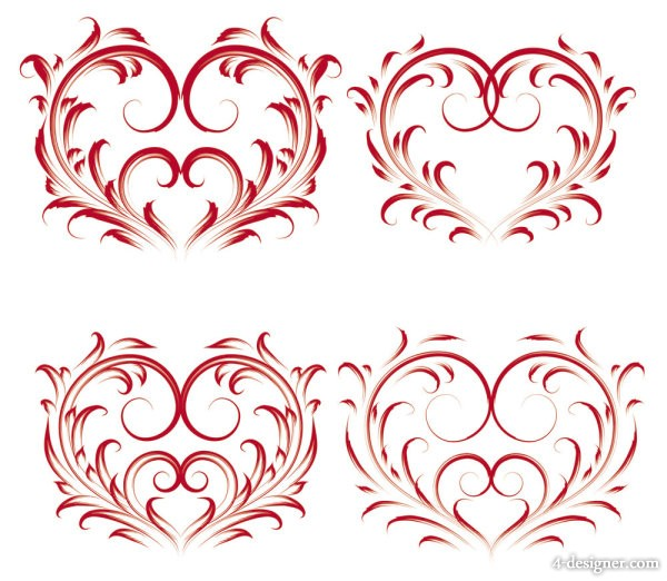 Exquisite exquisite heart shaped pattern   Vector material