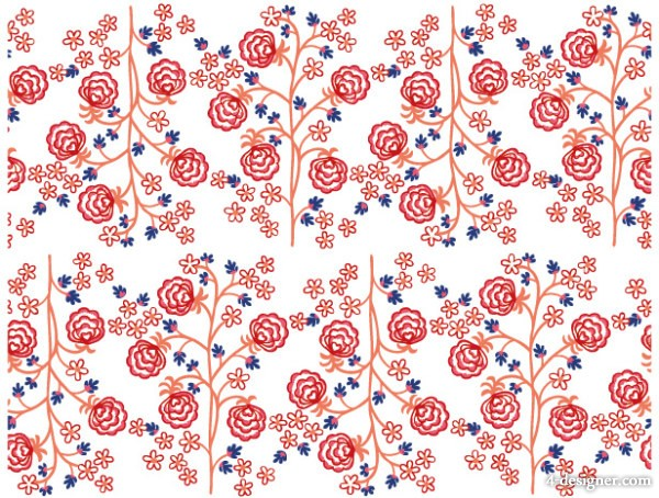 Hand drawn lines of small trees and flowers background vector material