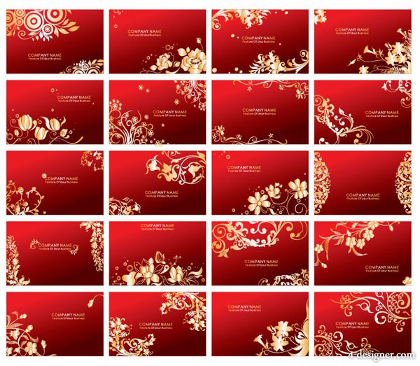 Red pattern card vector material