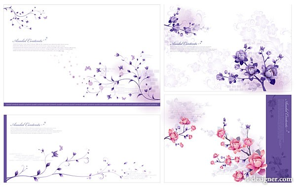 Stylish and elegant flower pattern vector material the