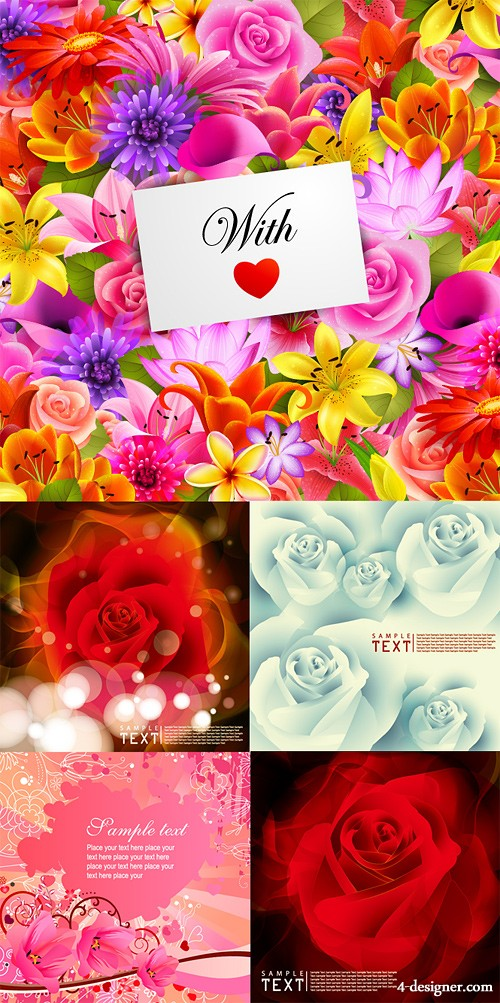 The Blooming card background vector material