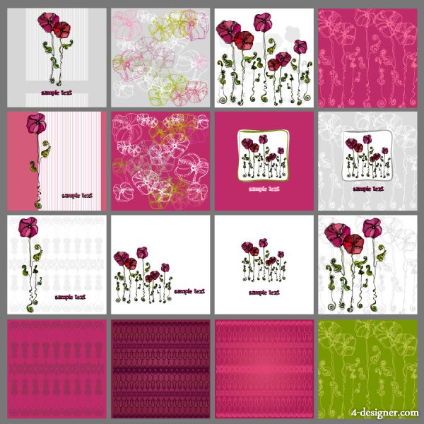 A variety of beautiful flowers illustrator patterns 01   vector material