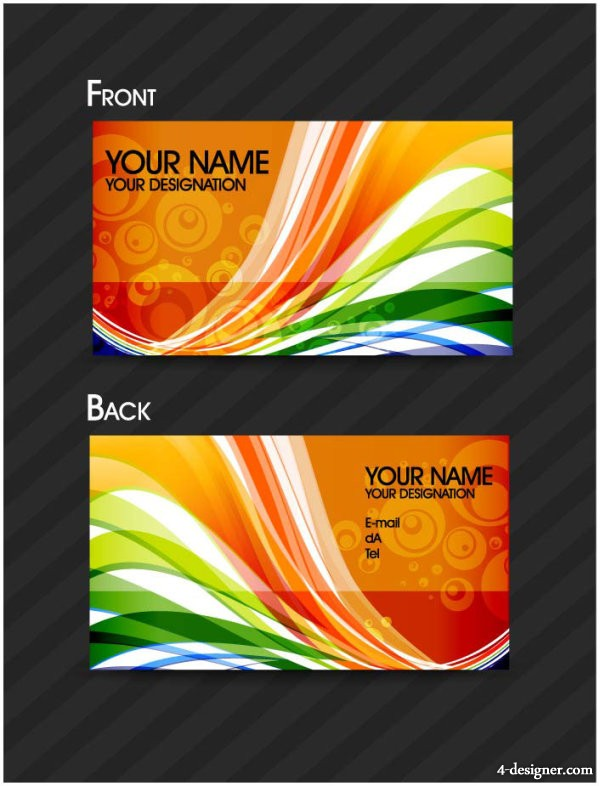 Brilliant dynamic pattern business cards vector material 01   vector material