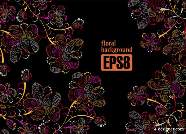Colorful line art flowers 02   vector material