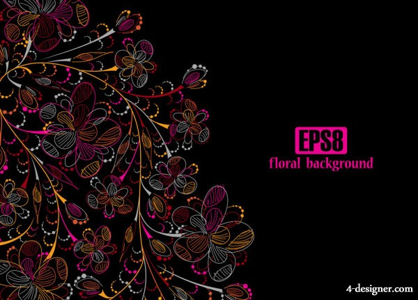 Colorful line art flowers 04   vector material
