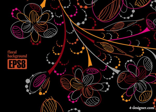 Colorful line art flowers 05   vector material