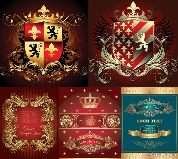 European ornate elements vector material