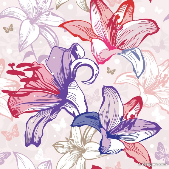 Exquisite flowers pattern 02   vector material