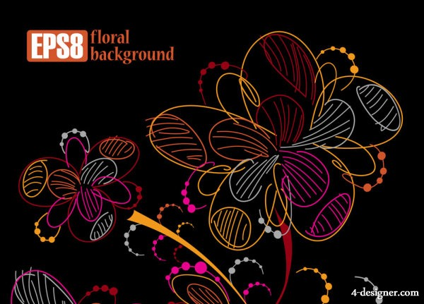 Multicolored line art flowers 03   vector material