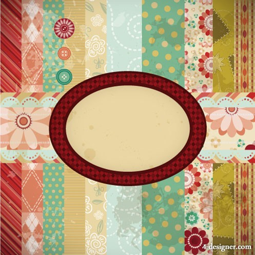 Patchwork pattern background 05   vector material