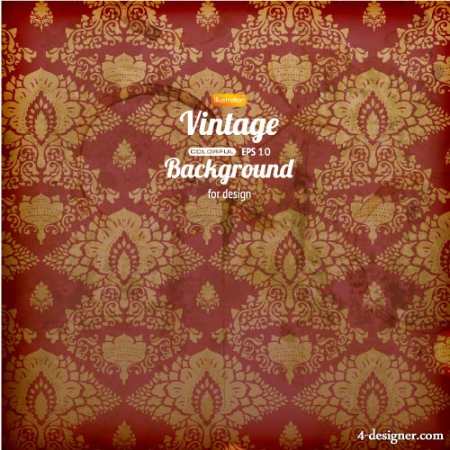 Retro pattern background 02   vector material