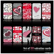 Romantic heart shaped pattern cards   Vector