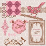 Exquisite lace pattern 04   vector material