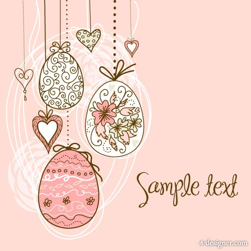 Vector hand painted Easter pattern 05   vector material