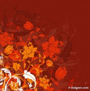 Fashion floral silhouette vector material