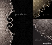 3 models of ornate European style classical pattern vector material