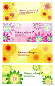 4 paragraph colorful flowers background vector material