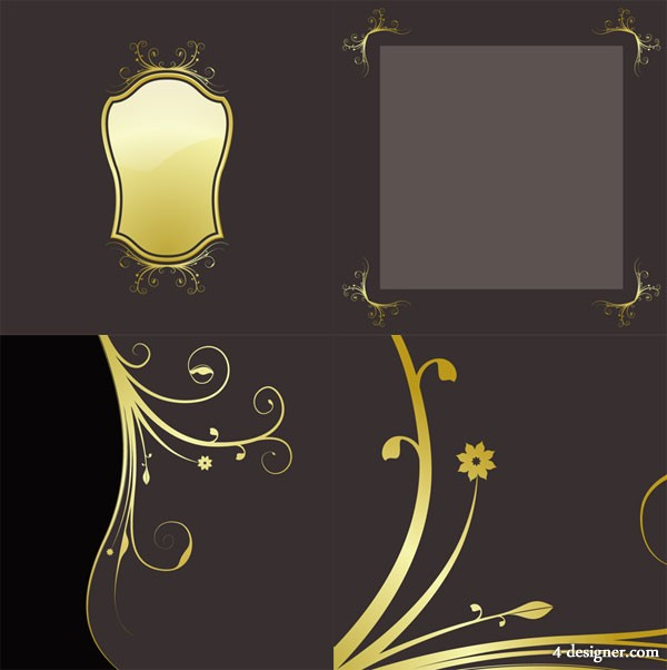 4 paragraph golden lace pattern vector material