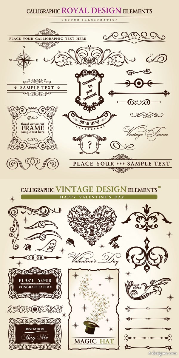 Classic European patterns 01   vector material