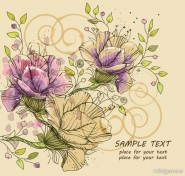Classic hand painted pattern background 03   vector material