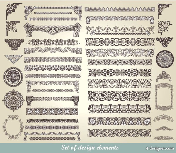 European classic pattern lace 01   vector material